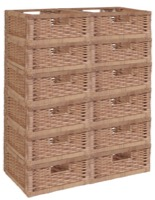 Niche Cubo Set of 12 Half-Size Foldable Wicker Storage Basket - Natural