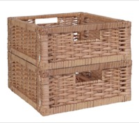 Niche Cubo Set of 2 Half-Size Foldable Wicker Storage Basket - Natural
