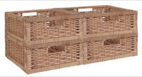 Niche Cubo Set of 4 Half-Size Foldable Wicker Storage Basket - Natural