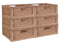 Niche Cubo Set of 6 Half-Size Foldable Wicker Storage Basket - Natural