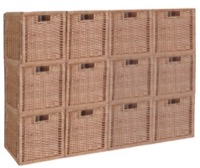 Niche Cubo Set of 12 Full-Size Foldable Wicker Storage Basket - Natural