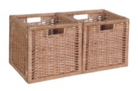 Niche Cubo Set of 2 Full-Size Foldable Wicker Storage Basket - Natural