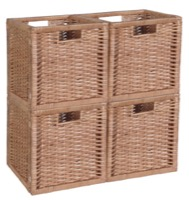 Niche Cubo Set of 4 Full-Size Foldable Wicker Storage Basket - Natural