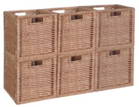 Niche Cubo Set of 6 Full-Size Foldable Wicker Storage Basket - Natural