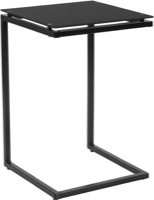 Burbank Collection - Black Glass End Table - Black Metal Frame