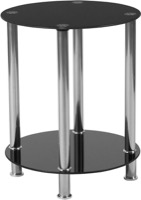 Riverside Collection - Black Glass End Table - Shelves and Stainless Steel Frame