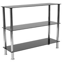 Riverside Collection - Black Glass Storage Shelves - Stainless Steel Frame