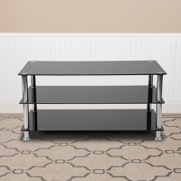 Riverside Collection - Black Glass TV Stand - Stainless Steel Frame