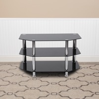 North Beach Collection - Black Glass TV Stand - Stainless Steel Metal Frame