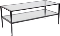 Newport Collection - Glass Coffee Table - Black Metal Frame
