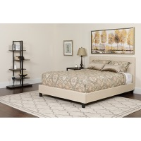 Full Platform Bed Beige