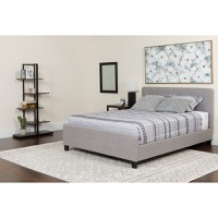 Full Platform Bed Light Gray