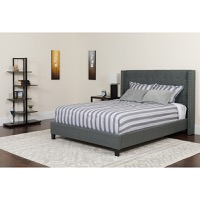 Queen Platform Bed Dark Gray