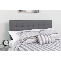 Bedford Tufted Upholstered Full Size Headboard - Dark Gray Fabric