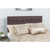 Lennox Tufted Upholstered Queen Size Headboard - Brown Vinyl