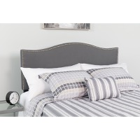 Lexington Upholstered King Size Headboard - Decorative Nail Trim - Dark Gray Fabric