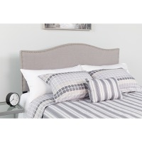 Lexington Upholstered King Size Headboard - Decorative Nail Trim - Light Gray Fabric