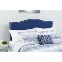 Lexington Upholstered Queen Size Headboard - Decorative Nail Trim - Navy Fabric