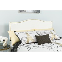 Lexington Upholstered Twin Size Headboard - Decorative Nail Trim - White Fabric
