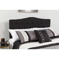Cambridge Tufted Upholstered Queen Size Headboard - Black Fabric