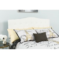 Cambridge Tufted Upholstered Queen Size Headboard - White Fabric