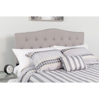 Cambridge Tufted Upholstered Twin Size Headboard - Light Gray Fabric