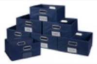 Niche Cubo Set of 12 Half-Size Foldable Fabric Storage Bins - Blue