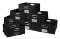 Niche Cubo Set of 12 Half-Size Foldable Fabric Storage Bins - Black