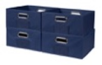 Niche Cubo Set of 4 Half-Size Foldable Fabric Storage Bins - Blue