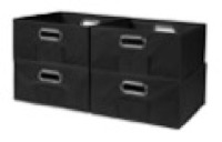 Niche Cubo Set of 4 Half-Size Foldable Fabric Storage Bins - Black