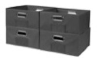 Niche Cubo Set of 4 Half-Size Foldable Fabric Storage Bins - Grey