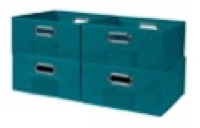 Niche Cubo Set of 4 Half-Size Foldable Fabric Storage Bins - Teal
