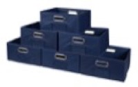 Niche Cubo Set of 6 Half-Size Foldable Fabric Storage Bins - Blue