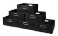 Niche Cubo Set of 6 Half-Size Foldable Fabric Storage Bins - Black