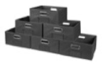 Niche Cubo Set of 6 Half-Size Foldable Fabric Storage Bins - Grey