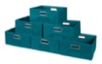 Niche Cubo Set of 6 Half-Size Foldable Fabric Storage Bins - Teal