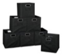 Niche Cubo Set of 12 Foldable Fabric Storage Bins - Black
