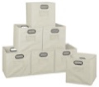 Niche Cubo Set of 12 Foldable Fabric Storage Bins - Natural