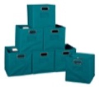 Niche Cubo Set of 12 Foldable Fabric Storage Bins - Teal