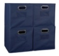 Niche Cubo Set of 4 Foldable Fabric Storage Bins - Blue