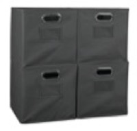 Niche Cubo Set of 4 Foldable Fabric Storage Bins - Grey