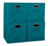 Niche Cubo Set of 4 Foldable Fabric Storage Bins - Teal