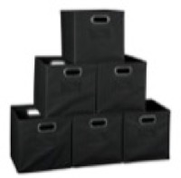 Niche Cubo Set of 6 Foldable Fabric Storage Bins - Black