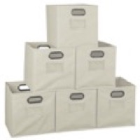 Niche Cubo Set of 6 Foldable Fabric Storage Bins - Natural