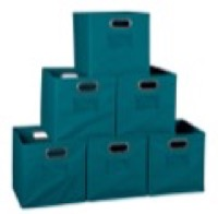 Niche Cubo Set of 6 Foldable Fabric Storage Bins - Teal