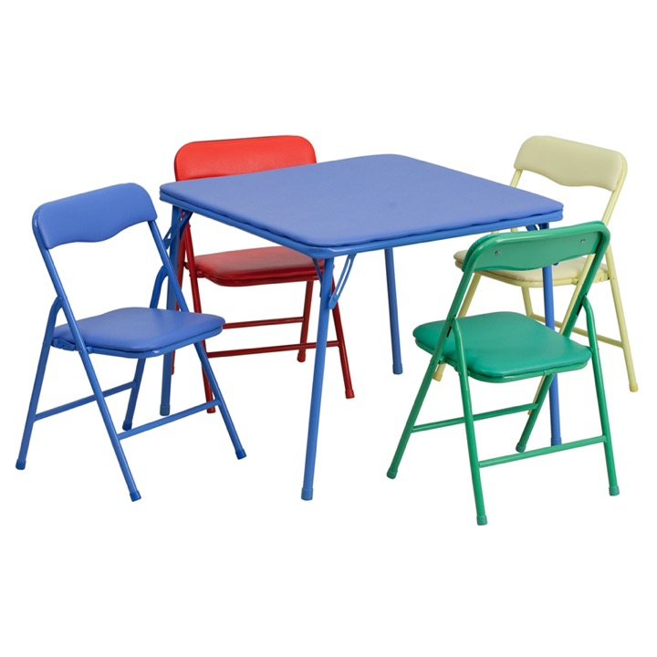 Kids Colorful 5 Piece Folding Table And Chair Set [JB 9 KID GG]