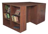 Regency Legacy - Stand Up Station - 2 Desks, 2 Lateral Files with Bookcase End