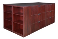 Legacy Stand Up 2 Lateral File/ Storage Cabinet/ Desk Quad with Bookcase End - Mahogany