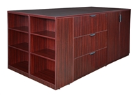 Regency Legacy - Stand Up Station - 2 Storage Cabinets, 2 Lateral File Quad with Bookcase End