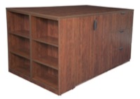Legacy Stand Up 2 Storage Cabinet/ 2 Lateral File Quad with Bookcase End - Cherry